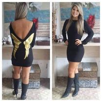 Vestido Moletom Asas Douradas Nas Costas! Moda 2015! Inverno