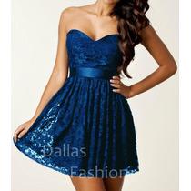 Vestido Tomara Que Caia Em Renda Azul