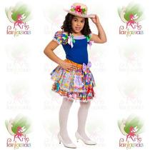 Vestido Junino Infantil Caipira ° Festa Junina ° Boneca Azul