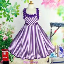 Vestido Infantil Festa/princesa Branco Listras Roxo, Pink,