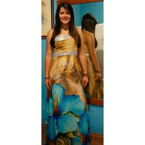 Vestido Longo Mostarda Com Azul Festas 15 Anos, Formaturas