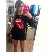 Vestido Rolling Stones Rock Manga Longa Lindos! Moda 2015 Sp