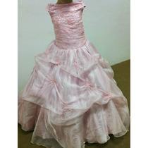 Vestido Infantil Dama/princesa/formatura Rosa