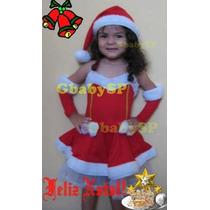 Roupa Vestido Mamãe Noel Infantil Bebê Tam 6 Meses A 14 Anos