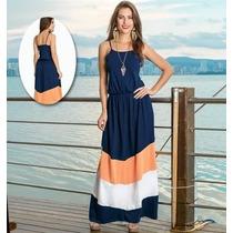 Vestido Longo Azul Marinho De Alcinhas