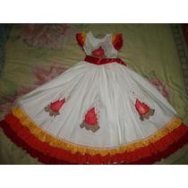 Belo Vestido Infantil De Festa Junina, Crianças 4 A 6 Anos