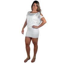 Vestido Feminino Tricats Devore Ano Novo Branco