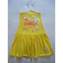 Vestido Menina Chicco Amarelo Branco Saia Rodada 4 Anos