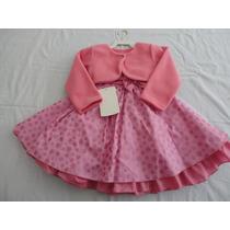 Vestido Infantil Minnie Baby Pepa Pig 1 Ano Com Bolero