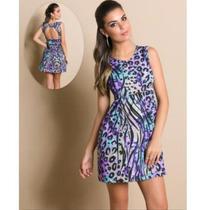 Lindo Vestido Panicat Fashion Balada Decote Costas Barato
