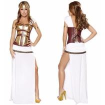 Fantasia Vestido Guerreira Romana Grega Branco Dourado