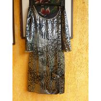 Vestido De Festa Preto E Prata - P-importado