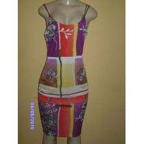 Vn042 - Vestido Estampado Roxo Com Diversos Tons Manequim U