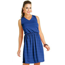 Vestido Malha De Algodão, Azul Royal - Tam Gg = 120 Cm Busto