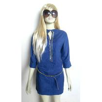 Vestido Azul Fashion Com Cinto Dourado Frete Grátis