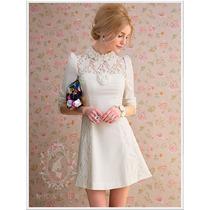 Vestido M- Importado Elegante Princesa Romântico Em Renda