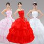 Vestido Debutante Noiva Branco Rosa Ou Vermelho Frete Gratis
