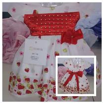 Vestido Infantil De Festa Moranguinho Luxo Super Oferta