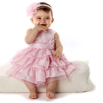 Vestido Festa Infantil Menina Rosa + Tiara Pronta Entrega