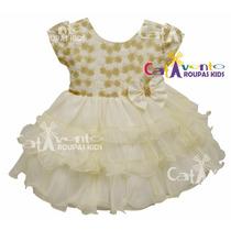 Vestido Bebê Batizado De Renda Com Faixa De Cabelo