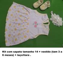 Vestido Bebe Menina, Festa Casual,c Sapatinho E Tiara Laço