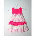 Vestido Infantil Festa Bebê Princesa Com Babados Rosa Pink