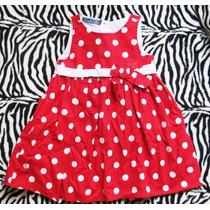 Vestido Poa Vermelho Bolinhas Laço Bebe Menina 9-12 Meses