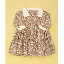Vestido Manga Longa Oncinha - Enxoval Bebê Menina