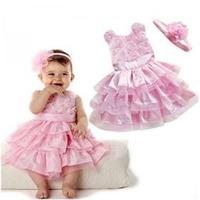 Vestido De Festa Infantil Rosa + Faixa Gratis Pronta Entrega