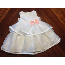 Vestido Festa Carters Bebe 9 Meses Branco/detalhe Rosa