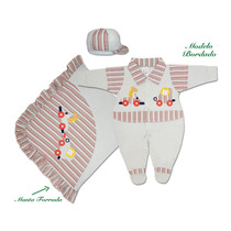 Kit Saída Maternidade Menino Cinza E Vermelho L Baby 8102