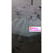 Vestido Infantil Branco Batizado C/ Laço Luxo - Tam. P / G