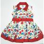 Vestido Infantil Florido + Tiara Rosa / Vermelho 1 - 2 Ano