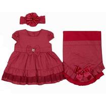 Saída Maternidade - Vestido, Manta E Faixa De Cabelo