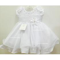 Vestido Infantil Batizado Daminha Branco Com Faixa De Cabelo