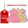 Kyly - Kit C/ 3 Vestidos Infantis Tam M - Frete Único - R$10
