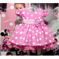 Vestido Infantil Minnie Rosa De Bebê Luxo - Tam P / G