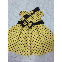 Vestido De Bebê De Bolinhas Com Tiara 0 A 12 Meses