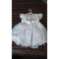 Vestido Bebê Festa Tecido Forrado Criança Branco + Brinde