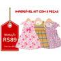 Kit C/ 3 Vestidos Infantis Tam 3 - Frete Único - R$10