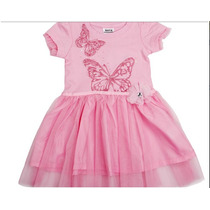 Vestido Rosa Com Borboletas (estilo Bailarina) Bebê