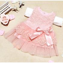Vestido Bebê Princesa Festa Saída Maternidade Rosa R.nascido