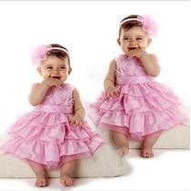 Vestido Festa Infantil Importado Menina Rosa + Tiara