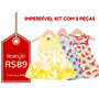 Kyly - Kit C/ 3 Vestidos Infantis Tam G - Frete Único - R$10