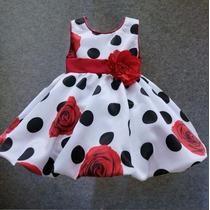 Vestido Infantil Importado De Festa De Bolinhas