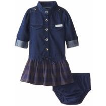 Vestido Ck Calvin Klein Menina Infantil, Jeans Com Calcinha