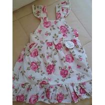 Vestido Infantil Floral Tricoline - Tam 2 Anos