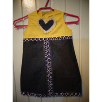 Vestido Infantil Jeans E Popeline