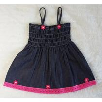 Vestido De Bebê Jeans Com Florzinhas E Rendas Rosas