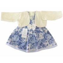 Vestido Estampado Infantil Feminino Com Bolero - 9903
